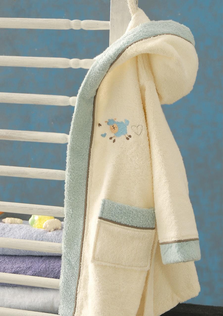 Μπουρνούζι παιδικό με κουκούλα SOUZI, RYTHMOS HOME (Γαλάζιο, 3-4) παιδικα   παιδικά μπουρνούζια