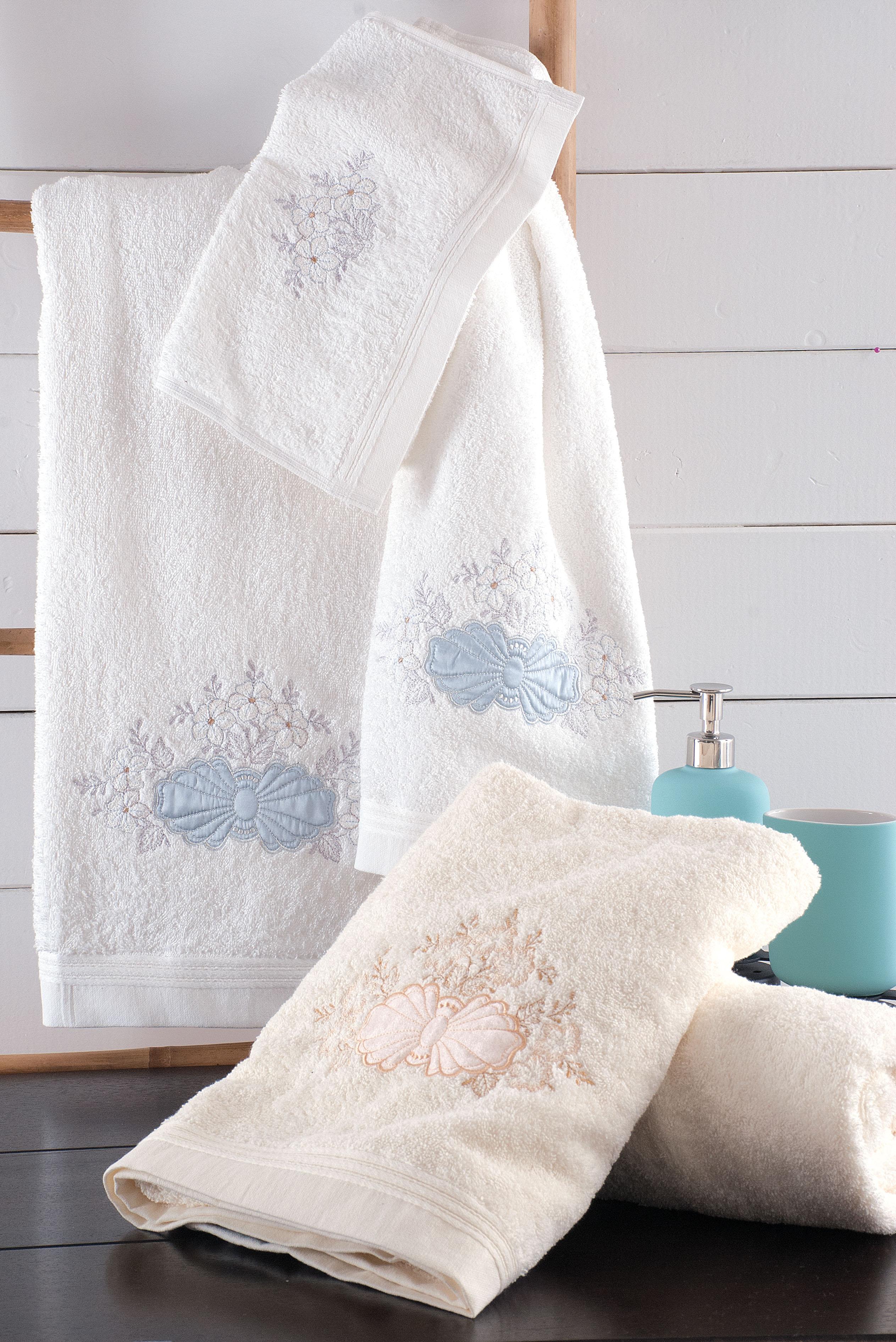 Σετ πετσέτες 3 τεμ. με κέντημα CORA WHITE-GREY, RYTHMOS HOME μπανιο   σετ πετσέτες mπάνιου