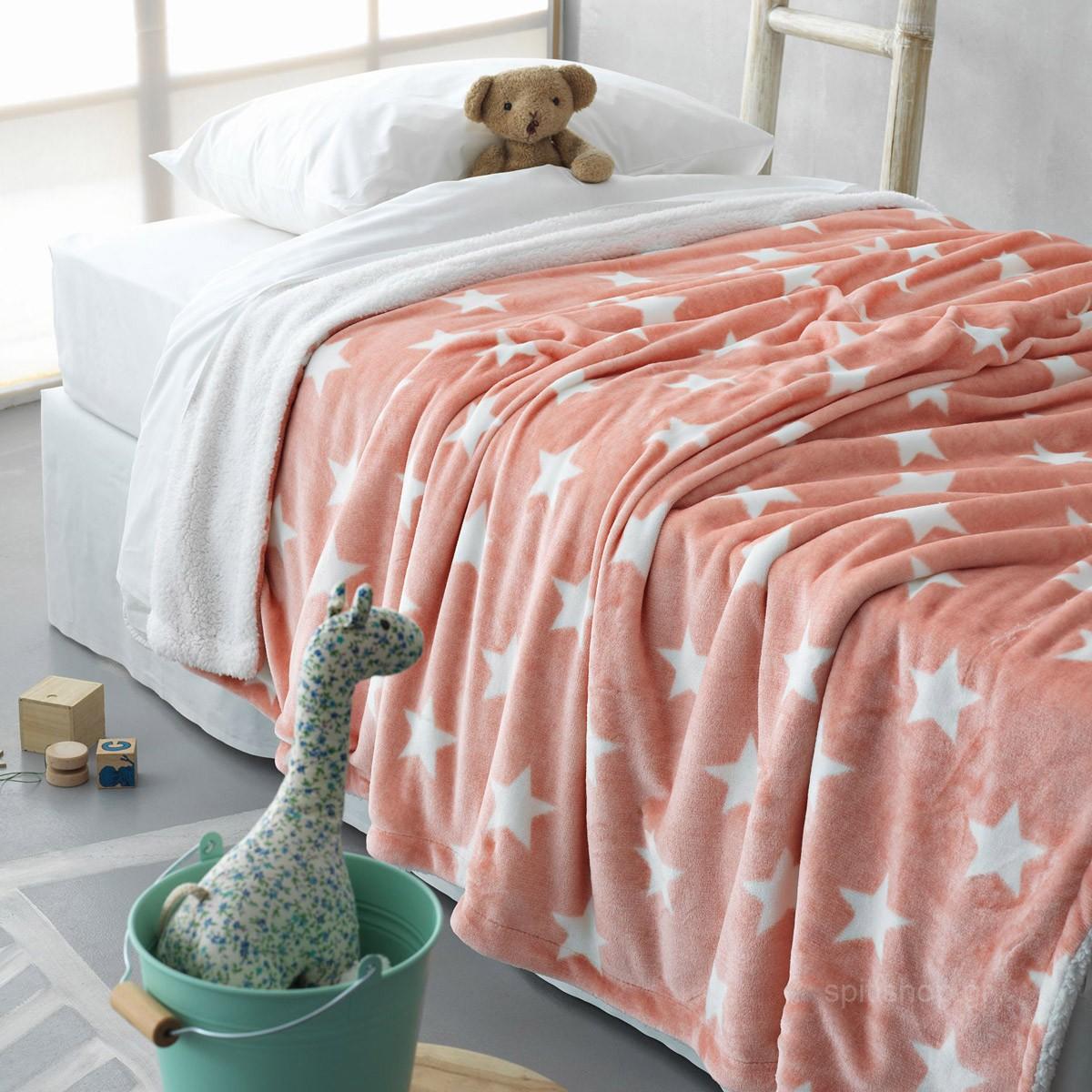 Κουβέρτα fleece μονή (160Χ240) STAR PINK, PALAMAIKI παιδικα   παιδικές κουβέρτες   κουβέρτες fleece