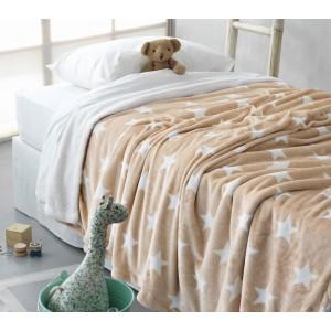Κουβέρτα fleece μονή (160Χ240) STAR BEIGE, PALAMAIKI παιδικα   παιδικές κουβέρτες   κουβέρτες fleece