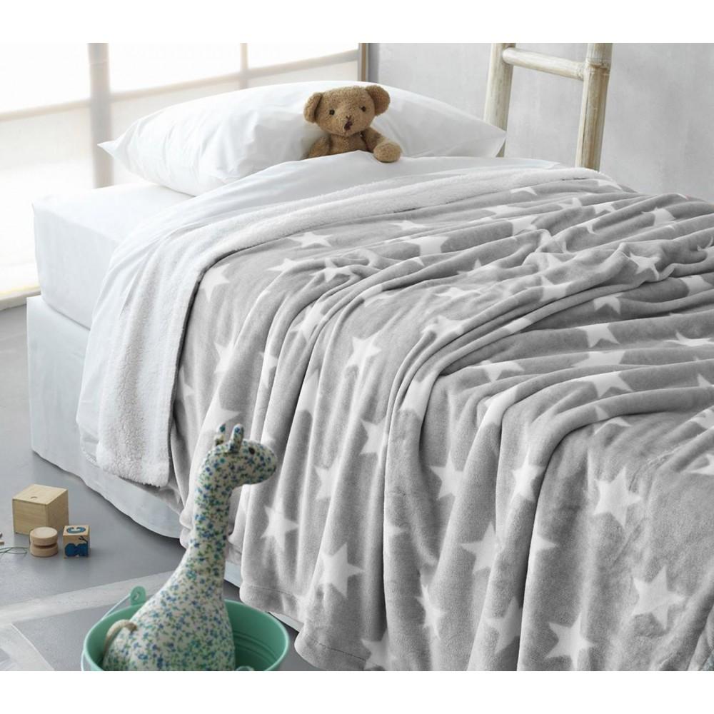 Κουβέρτα fleece μονή (160Χ240) STAR GREY, PALAMAIKI παιδικα   παιδικές κουβέρτες   κουβέρτες fleece
